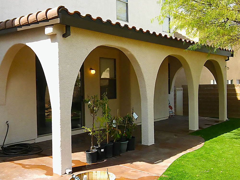 Attached Patio Cover with Stucco Arches