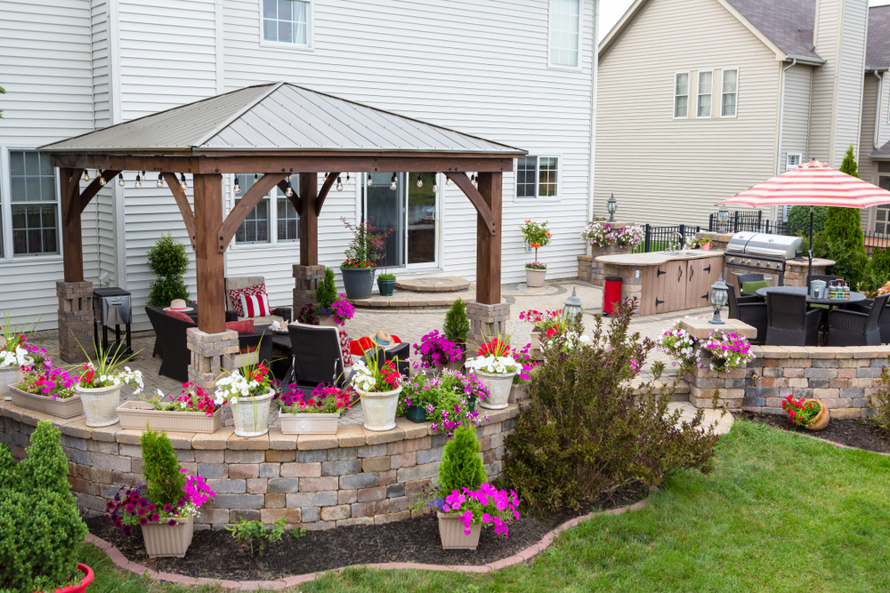 backyard with a freestanding patio cover